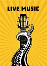 Live music. Octopus tentacles with guitar. Musical poster background for concert. Tattoo style vector illustration.