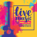 Live music poster with multicolor acoustic guitars