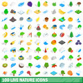 100 live nature icons set, isometric 3d style