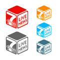 Live news symbol fictional tv program in colors Stock Photos