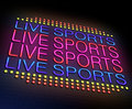Live sports concept illustration depicting an illuminated neon sign with a Stock Image