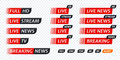 Live stream TV news tag icon. Video symbol live broadcasting Royalty Free Stock Photo