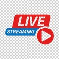 Live video icon in transparent style. Streaming tv vector illustration on isolated background. Broadcast business concept Royalty Free Stock Photo