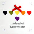 And they lived happily ever after paper craft card with hearts tie Royalty Free Stock Photography