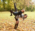 Lively girlfriends in autumn park Stock Image