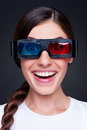 Lively woman in 3d glasses Royalty Free Stock Photo