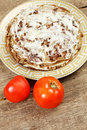 Liver pie with tomatoes above view Royalty Free Stock Photo