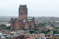 Liverpool cathedral birdseye view of the in uk Royalty Free Stock Image