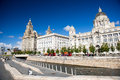 Liverpool city centre three graces buildings on s waterfront uk Royalty Free Stock Photos