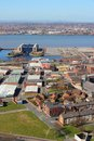 Liverpool city in merseyside county of north west england uk aerial view with famous pier head unesco world heritage site Stock Photo