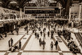 Liverpool street in london uk october station central showing commuters moving around taken with a sepia filter Stock Photo