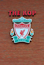 Liverpool uk april st liverpool football club crest on the kop entrance to the stadium Stock Images