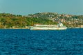 Livestock carrier sails bosphorus on sunny autumn day instanbul turkey Royalty Free Stock Images