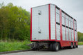 Livestock trailer a parked on the street Stock Images