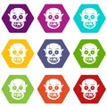 Living dead icon set color hexahedron Royalty Free Stock Photo