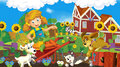 Living on the farm happy and colorful illustration for children Royalty Free Stock Images