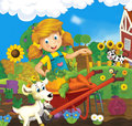 Living on the farm happy and colorful illustration for children Royalty Free Stock Photo