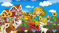 Living on the farm happy and colorful illustration for children Royalty Free Stock Photography