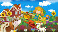 Living on the farm happy and colorful illustration for children Stock Photos