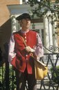 Living history participant posing in williamsburg virginia recreating colonial life Stock Photography