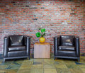 Living room with brick wall Royalty Free Stock Photo