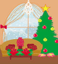 Living room at christmas time illustration Stock Image