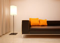 Living room detail interior design modern bright orange shades Stock Photo