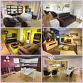 Living room and dining room collage furniture Stock Photography