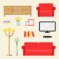 Living room elements isolated set modern furniture flat style vector illustration Royalty Free Stock Photography