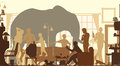 Living room elephant editable vector silhouettes of an standing in a during a family gathering Royalty Free Stock Photos