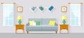 Living room flat style vector illustration.