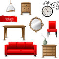 Living room furniture highly detailed icons Stock Images
