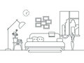 Living room with furniture interior in thin line style vector illustration Royalty Free Stock Photo
