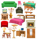 Living room furniture vector set of isolated on a white background Royalty Free Stock Photography