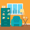 Living room with furniture and window. Reading room. Flat style illustration.
