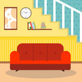 Living room with furniture and window. Reading room. Flat style vector illustration.