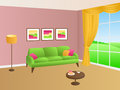 Living room green pink sofa yellow pillows lamp window illustration Royalty Free Stock Photo