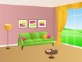 Living room green pink sofa yellow pillows lamp window illustration Royalty Free Stock Photo