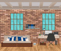 Living room interior in hipster style with brick wall, sofa, workplace, boofshelf and windows.