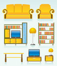 Living room objects, furniture and equipment Royalty Free Stock Image