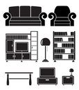 Living room objects, furniture and equipment Royalty Free Stock Images