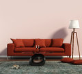 Living room with a red sofa and a geometrical rug rendering of Royalty Free Stock Photography