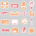 Living room stickers set eps Royalty Free Stock Image