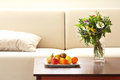 Living room still life with flowers and fruit Royalty Free Stock Photos