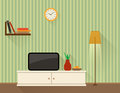 Living room with tv illustration of the flat design style Stock Image