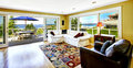 Living room with walkout deck and bay view. Tacoma real estate, Royalty Free Stock Photo