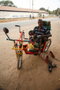 LIVINGSTONE - OCTOBER 14 2013: Local disabled man with an adapte Stock Photography