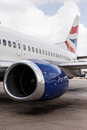 Livingstone october british airways lands another saf safe flight in zambia africa Stock Image