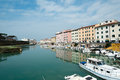 Livorno town italy canals and boats in the historic center of the city of region of tuscany Stock Photo