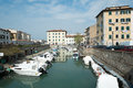 Livorno town italy canals and boats in the historic center of the city of region of tuscany Royalty Free Stock Photography